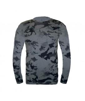 Мъжка тениска с дълъг ръкав до 6XL в сив камуфлаж