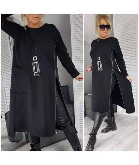 Дамска рокля до 5XL със цип отстрани