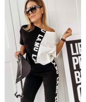 Дамски екип до 5XL с черно/бяла тениска
