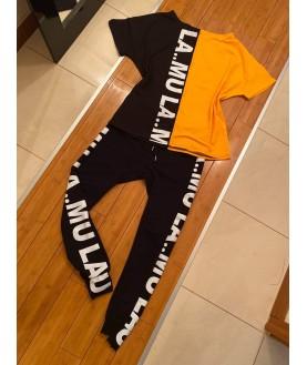 Дамски екип до 5XL с черно/жълта тениска