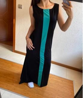 Дълга рокля до 5XL в черно със зелено