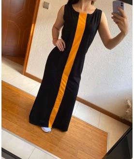 Дълга рокля до 5XL в черно с жълто