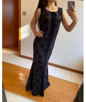 Дълга рокля до 5XL на точки в тъмно сиво