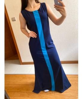 Дълга рокля до 5XL в тъмно синьо с тюркоаз