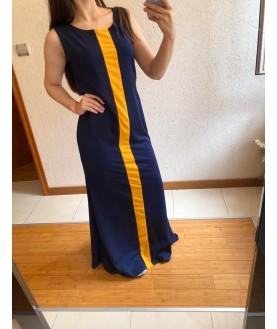 Дълга рокля до 5XL в тъмно синьо с жълто