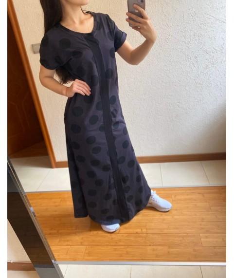 Дълга рокля до 5XL на точки с черна лента