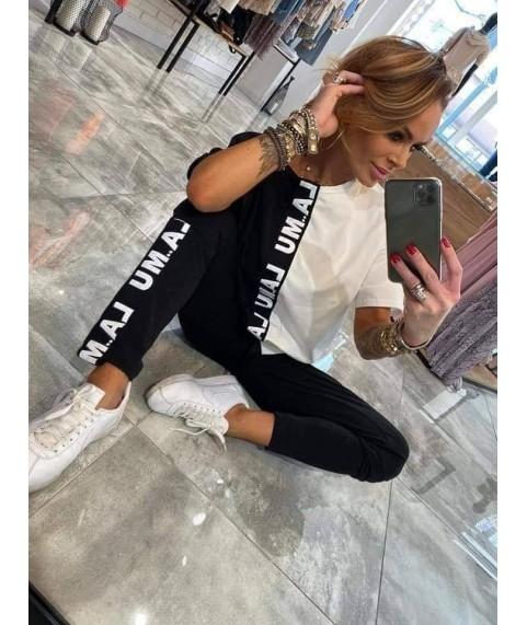 Дамски Екип До 5XL С Бяло/Черна Тениска