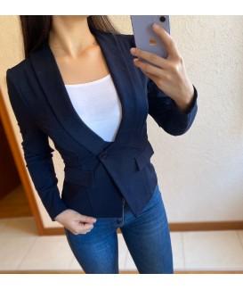 Атрактивно дамско сако до 2XL в тъмно синьо