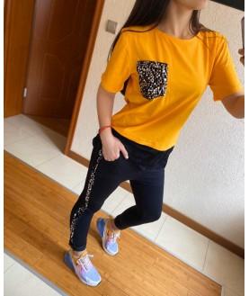 Дамски екип до 5XL с паети с жълта тениска