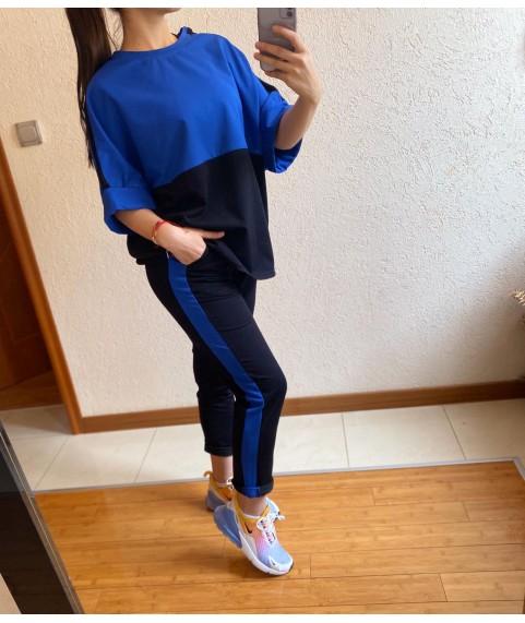 Дамски екип до 5XL с блуза свободен силует в черно със синьо
