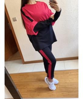 Дамски екип до 5XL с блуза дълъг ръкав свободен силует в два цвята