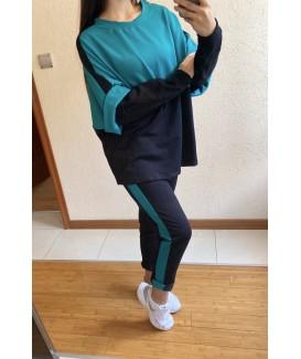 Дамски екип до 5XL с блуза дълъг ръкав свободен силует в зелено с черно