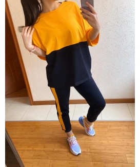 Дамски екип до 5XL с блуза свободен силует в черно с жълто