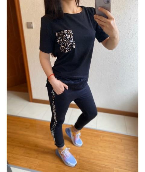Дамски екип до 5XL с паети с черна тениска