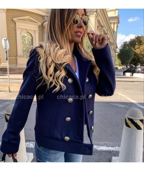 Дамско късо палто в тъмно син цвят
