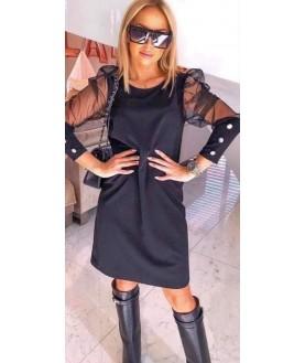 Дамска Рокля до 5XL с тюлен ръкав в черен цвят
