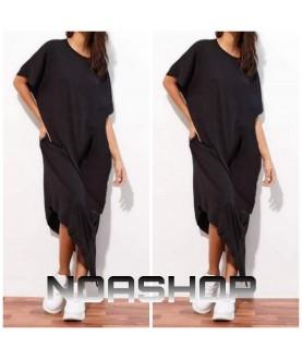 Дълга рокля до 5XL в черно