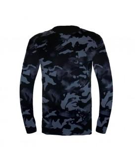 Мъжка тениска с дълъг ръкав до 6XL в черен камуфлаж