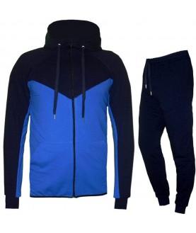 Двуцветен мъжки екип до 6XL в тъмно синьо със светло синьо