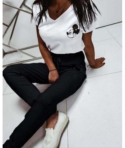 Дамски екип до 5XL с бяла тениска и черно долнище
